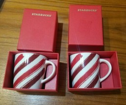 Pair of Starbucks Demi Espresso Cup 2014 Candy Cane w/ Box 3 oz NOS Demi... - $11.64