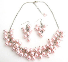 Soft Pink Pearl Chunky Beaded Necklace With Earring Bridal Gift - $19.20