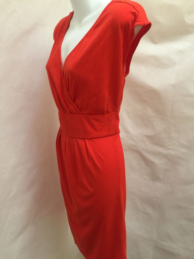 Ann Taylor Loft M Dress Orange V Neck Empire Waist Smocked Back