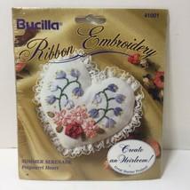 """Summer Serenade Heart Ribbon Embroidery Kit Bucilla 3"""" - $9.74"""