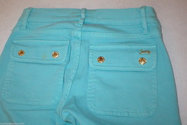 New Logo Crop Jeans Juicy Couture 25 Womens Snap Pockets Aqua Blue Teal Skinny image 2