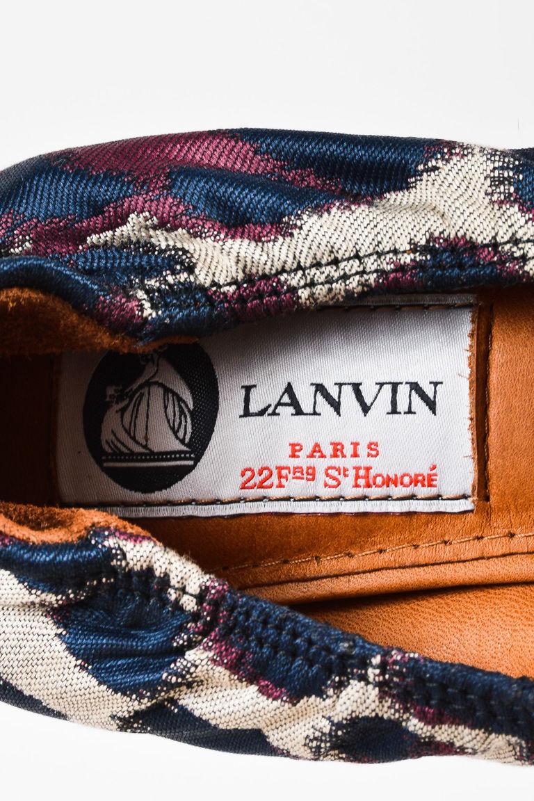 Lanvin NIB Beige Navy Purple Jacquard Leopard Print Pointed Flats SZ 35.5