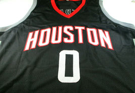 RUSSELL WESTBROOK / AUTOGRAPHED HOUSTON ROCKETS BLACK CUSTOM JERSEY / COA image 2
