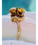 Vintage Double Topaz Ring 10 Karat Yellow Gold Ladies Size 4.5 - $198.00