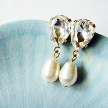 Gold Teardrop Pearl Earrings - Rhinestone Bridesmaid Gift - $17.00+