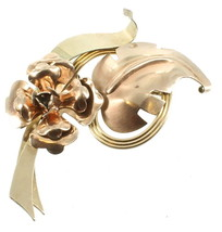 VINTAGE HARRY ISKIN PRETTY ROSE GOLD 10K GF GOLD FILLED FLOWER RIBBON LE... - $87.74