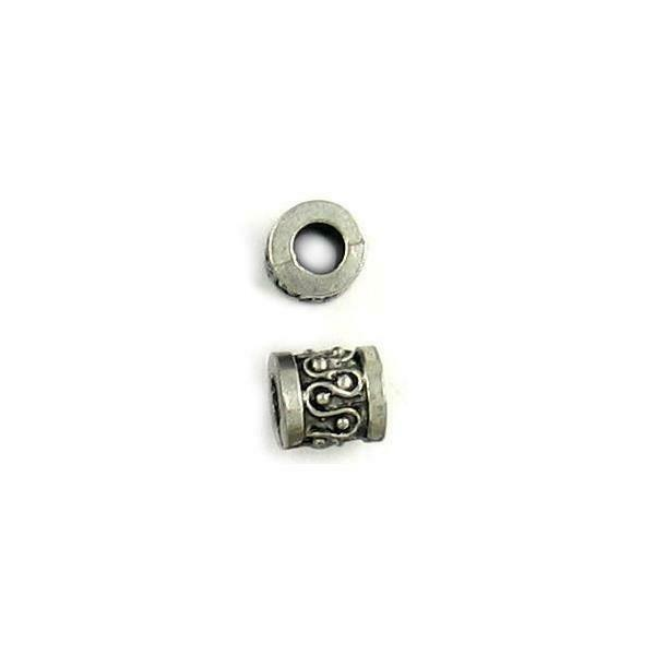 LARGE HOLE DRUM FINE PEWTER BEAD - 8mm x 7mm x 7mm, 3.35mm  Hole