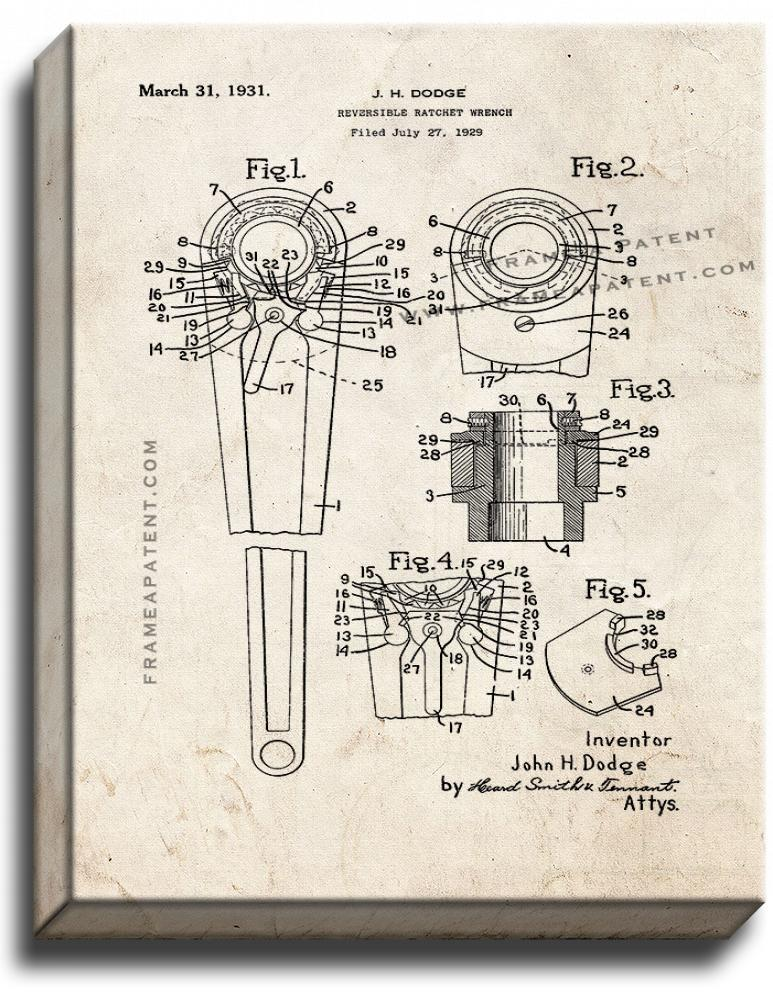 Primary image for Reversible Ratchet Wrench Patent Print Old Look on Canvas