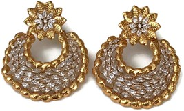 Ea  e191 Bollywood Fashion White Polki Golden Earring Set. Indian Jewelry - $24.99