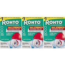 Rohto Cool Max Maximum Redness Relief Cooling Eye Drops, 0.4 Ounce, 3 Count image 2