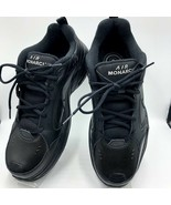 Nike Air Monarch Men's Black Leather Athletic Sneakers Shoes S13 Full Le... - $52.98