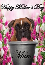 Boxer dog pot A5 Mother's Day Greeting Card Mother mom Codepp flowers - $4.26