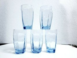 "Vintage Set of 5 Libbey Light Blue Textured CHIVALRY 5 1/4"" Flat Tumbler... - $24.74"