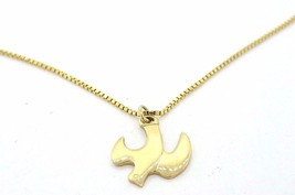 Vintage Signed 14K Chapel Yellow Gold Bird Necklace Pendant Charm & Chai... - $165.49