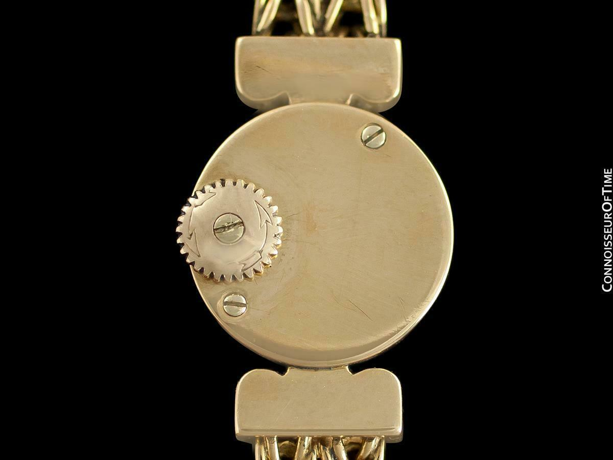 1950's JAEGER-LECOULTRE Vintage Ladies Backwind 18K Gold & Diamond Watch - Warra image 7