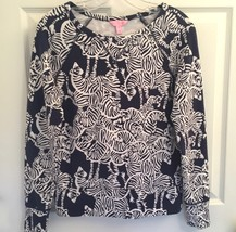 0a148333e14 Lilly Pulitzer Sz Xs I Herd You Bright Navy Zebra Print Popover Pullover Top  Euc -
