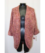 Maison Jules Sweater Cuffed Sleeve Open Front Cardigan Dark Pink Size S L - $54.99