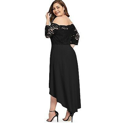 Primary image for Plus Size Elegant Off Shoulder Dip Hem Lace long Prom Formal Dress 16W 18W 22W