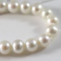 White Gold Bracelet 750 18k, Wire White Pearls 6 mm diameter, 19 cm long image 2