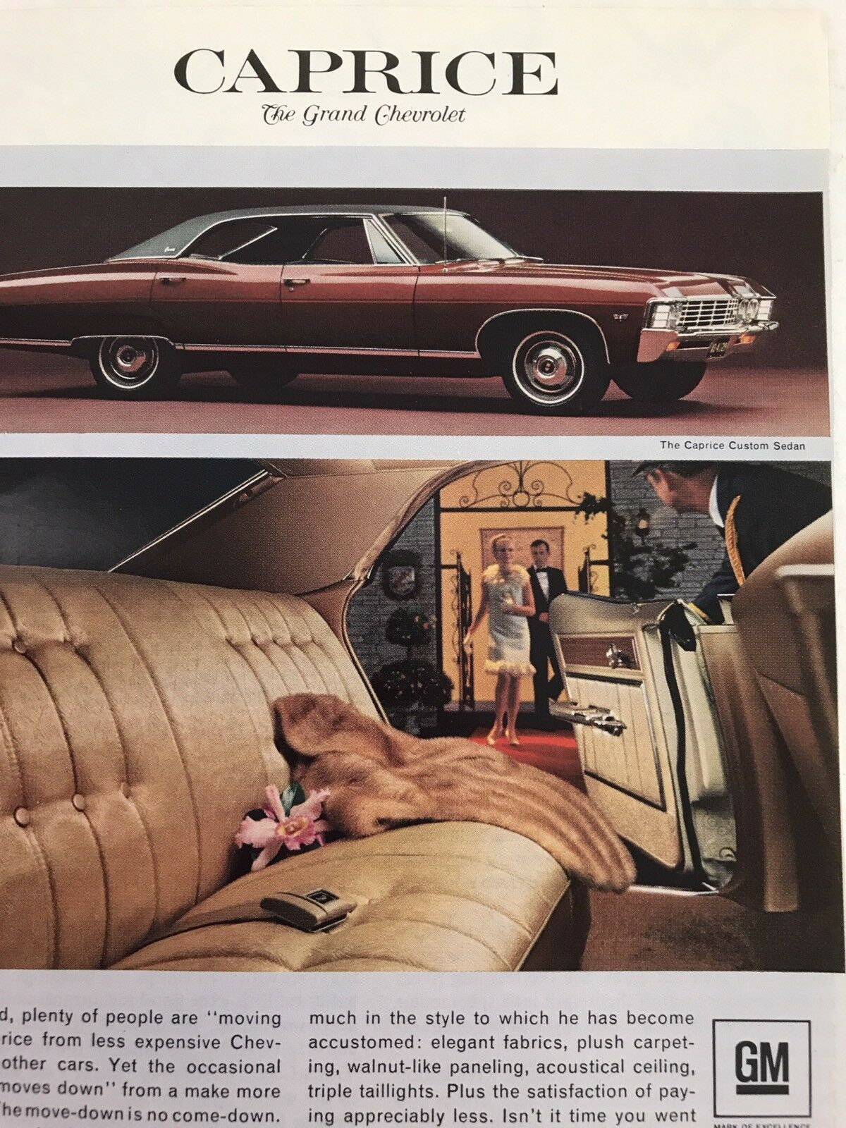Primary image for Print Ad Vtg 1967 Advertising Chevrolet Caprice Lady With Fur Coat