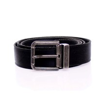 Dolce & Gabbana Black Heritage Leather Silk Logo Belt - $325.00