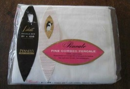 NOS Vintage Penneys Fine Combed Percale Cotton Sheet Full Double Unused - $17.59