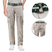 Men's Casual Cotton Multi Pocket Work Trousers Army Cargo Pants With Woven Belt
