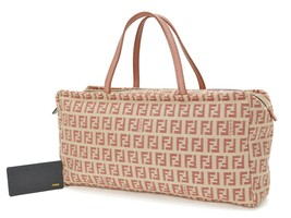Authentic FENDI Pink and Beige Zucca Canvas Hand Bag Purse #35324 - $295.00