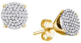 10k Yellow Gold Womens Round Diamond Circle Cluster Stud Earrings 1/3 Cttw - $314.00