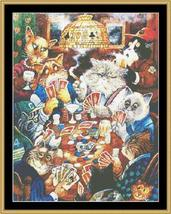 Poker Cat card game cross stitch chart Mystic Stitch - $14.40