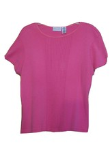 Jaclyn Smith Cotton Blend Rayon Short Sleeve Pink Salmon Top Size L Large - $5.93