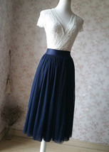 NAVY Midi Tulle Skirt Navy Blue Plus Size Tulle Skirt High Waisted Navy Tutu image 2