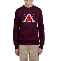 Hunter X Hunter Logo Youth/Kid Crewneck Sweatshirt MAROON - $30.00