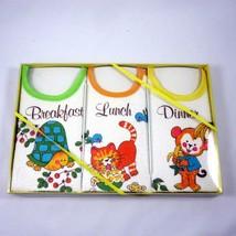 Drooler Bib Baby Gift Set of 3 Bibs Turtle Kitten Cat Monkey Vintage 197... - $24.74
