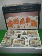 16 Piece Lighted Set Collectors Assortment of Dickens' Ceramics Christmas - $70.08