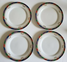 """Set of 4 Pier 1 Celebration Salad Plates Colored band 8"""" Diameter Free Shipping - $26.61"""