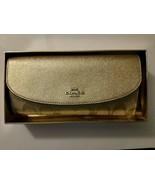 COACH Slim Envelope Wallet Silver Metallic Signature Platinum F38713 IN BOX - $99.99