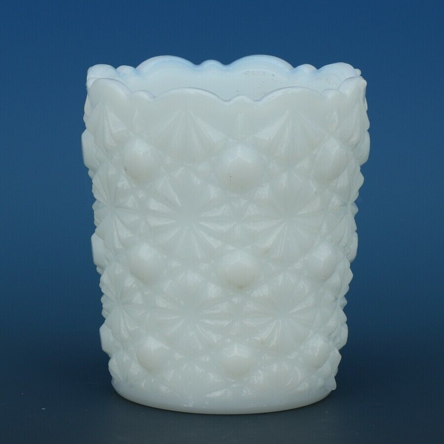 Vintage Moser Daisy & Button Milk Glass Toothpick Holder Marked M in Circle