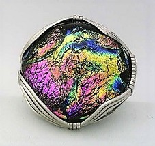 Pink Dichroic Glass Stainless Steel Wire Wrap Ring 16 - $10.30