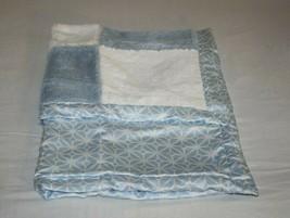 "COCALO Baby Blanket Blue White Plush Patchwork Squares Satin Snowflake Lovey 42"" - $67.70"