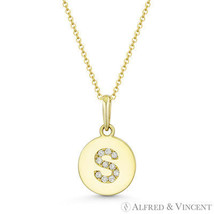 "Initial Letter ""S"" CZ Crystal 14k Yellow Gold 15x9mm Round Disc Necklace Pendant - $103.99"