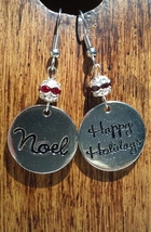 Christmas Happy Holidays and Noel Earrings with Red Crystals Hand Made I... - $19.99