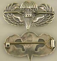WWII US Paraglider Wing Badge British design Sterling Silver     - $60.00