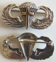 WW II Chaplain Paratrooper Wing Sterling Pin Back, Gold Plated Cross    - $60.00