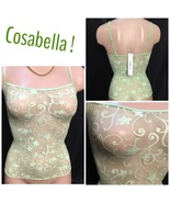 Cosabella Green Sheer floral print camisole top S NEW - $21.95