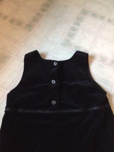 GAP KIDS black Velveteen Jumper Size XL Ribbon Trimmed Waist button back image 4