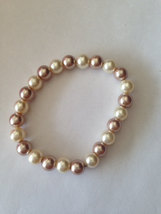 Ivory Champagne Marble Pearls Stretchable Bracelet - $6.00