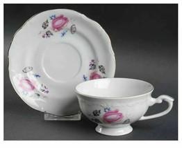 Chodziez Poland CHZ3 China 2 1/4 in Footed Cup Saucer Set Pink Blue Flor... - $10.39