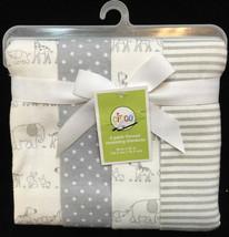 "Flannel Receiving Blankets Gray & White Set 4 30"" Zoo Animals Polka Dots Stripe - $14.84"