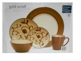 Mikasa Dinnerware Set Gold Scroll 20PC Service for 4 - $46.74